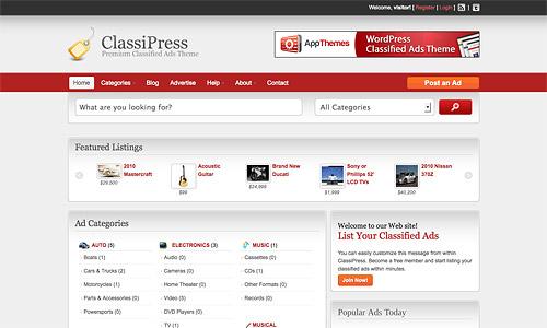 classified wordpress template