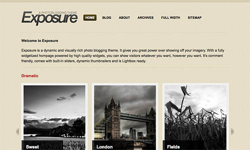 exposure wordpress template