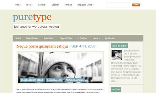 puretype wordpress template