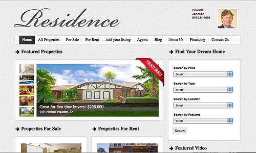 residence real estate wordpress template