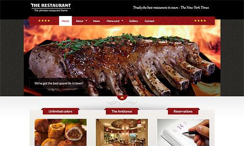 the restaurant wordpress template