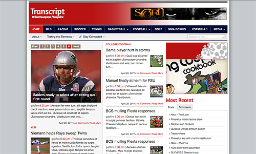 transcript news wordpress template